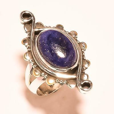 """Oval Shape Blue Lapis Lazuli Gemstone 925 Solid Sterling Silver Ring """"6.75"""""""