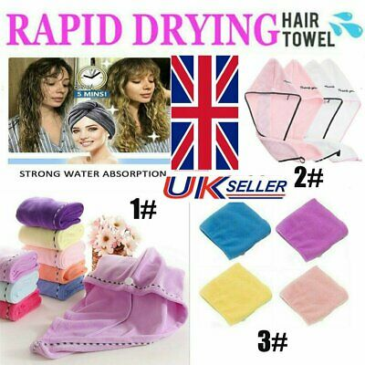 Rapid Drying Hair Towel Thick Absorbent Shower Cap FREE SHIPPING UK STOCK