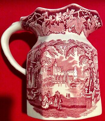 "Masons England Ironstone Vista Pink Red 6 1/2"" Jug Pitcher Transferware"