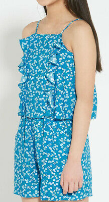 John Lewis & Partners Girls Daisy Playsuit  Teal Aged 12