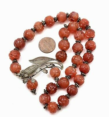 Chinese Sterling Silver Filigree Pendant Carved Agate Carnelian Bead Necklace