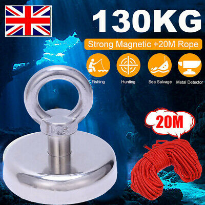 130kg Recovery Magnet Fishing Treasure 60MM Metal Detector with 20 Metre Rope OS