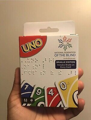 UNO Card Game - Braille Edition - IN HAND - Braille On Every Card Same Day Ship