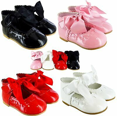 New Baby Kids Toodler Girls Infants Spanish Wedding Party Bow Patent Shoes Size