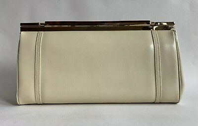 Ackery 1970s Vintage Clutch Bag Cream Faux Leather Buff Suede Lining Chain Strap