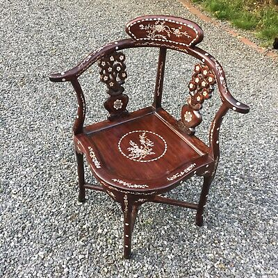 Antique Chinese Rosewood Hand made Corner Chair Inlaid Mother of Pearl