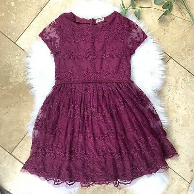 Girls NEXT Berry Red Lacey Party Xmas Dress Outfit Age 12 Occasion Christmas