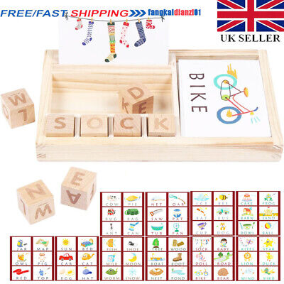 Kid 3-in-1 Spelling Learning Game Wooden English Spelling Words Enlightenment UK