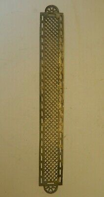 "Vintage Brass Engraved Pierced Door Push Plate 24"" B"