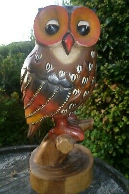 """Wooden Owl Carving - Hand Carved & Painted Large Standing Owl 16"""""""