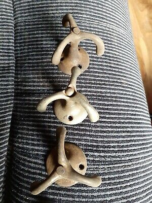 Vintage 3/triple Arm Swivel Hooks for wardrobes or ceilings 3 in all.