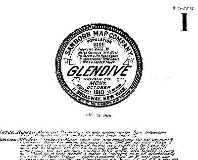 Glendive, Montana~Sanborn Map© sheets made~1888 to 1910~ 24 maps on CD