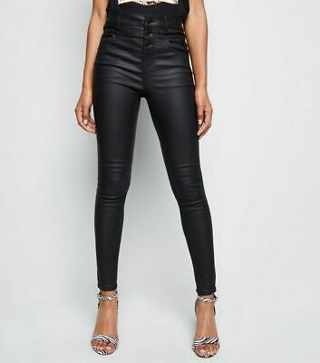 Skinny High Waisted Coated Trousers New Look Pvc Leather Look Pants 6 To 18