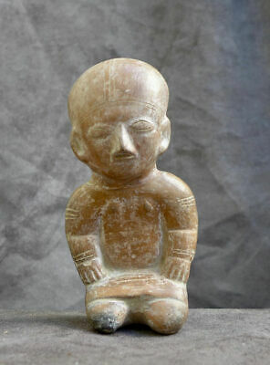 Statue/Whistle in the shape of a sitting figure, Ecuador Guangala Manabi