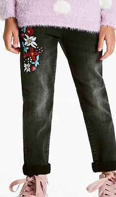 John Lewis & Partners Girls Skinny Embroidered Jeans Black Aged 14