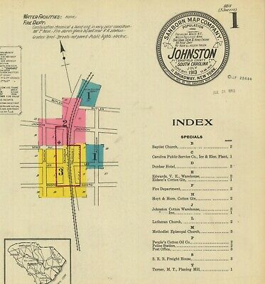Johnston, South Carolina~Sanborn Map©sheets~1903, 1908, 1913~6 maps in color