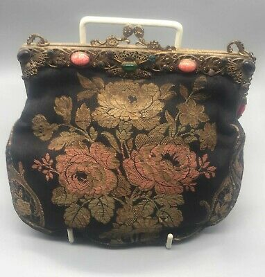 Wonderful vintage bag with glass stones c. 1920