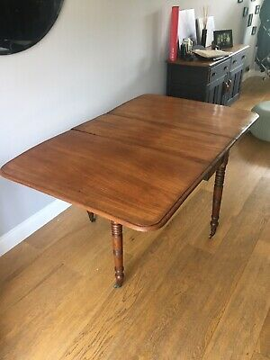 Antique Victorian Drop Leaf Pembroke Table, turned legs, on casters