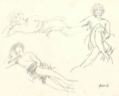 Peter Collins ARCA - Signed 1983 Graphite Drawing, Studies of Women