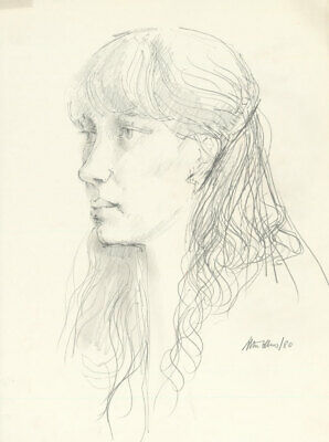 Peter Collins ARCA - Signed 1980 Graphite Drawing, Profile Portrait of a Lady