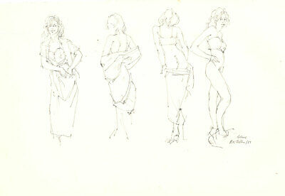 Peter Collins ARCA - Signed 1988 Graphite Drawing, Four Nude Studies