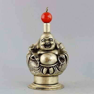 Collect Antique Miao Silver & Agate Carving Smile Buddha Auspicious Snuff Bottle
