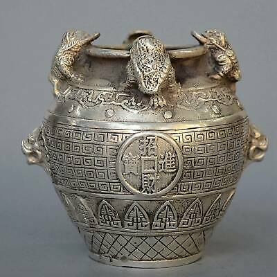 Handmade Old Miao Silver Carving Golden Toad & Dragon Delicate Noble Storage Jar