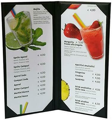 """5 Pcs of Restaurant Menu Covers Holders 4.75"""" X 11"""" Inches, Double View,Sold"""