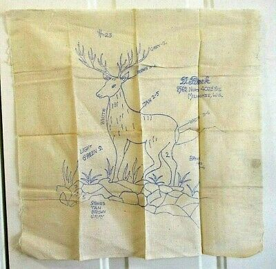 """Antique Stamped Embroidery Fabric 18"""" Square Buck Deer D Flicek #23"""