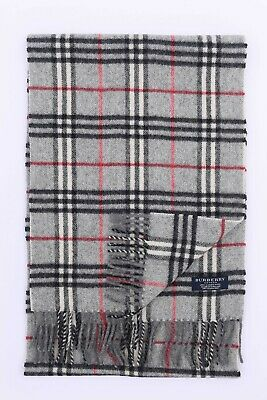 Genuine Burberrys 100% Lambswool Grey Check Vintage Scarf Made In England