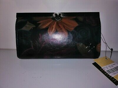 Patricia Nash Cauchy Fall Tapestry Italian Leather Wallet Clutch Purse