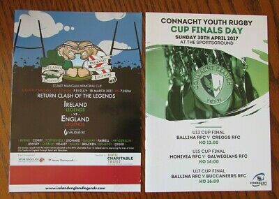 2 Irish Programmes Programmes - Ireland v England Legends - Connacht Cup Finals