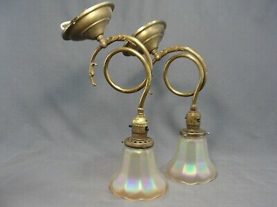 2 Antique Cast Brass Wall Sconces Iridescent Gold NUART Glass Shades Working