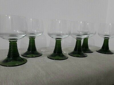 6 Retro Vintage Green Crystal Continental Glasses Ribbed 30cl Goblets