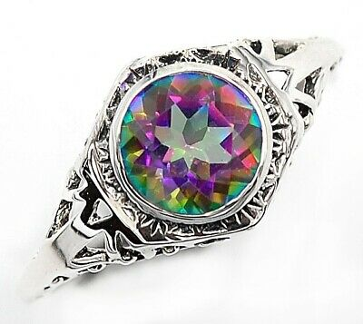 1CT Color Changing Rainbow Topaz 925 Sterling Silver Art Deco Ring Jewelry Sz 6