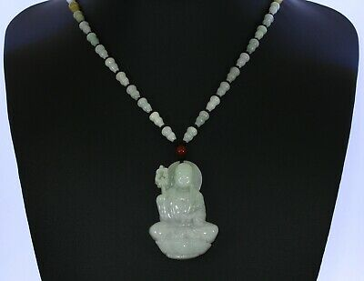 """2.2""""China Certified Grade A Nature Hisui Jadeite Jade Blessing Buddha Necklace"""