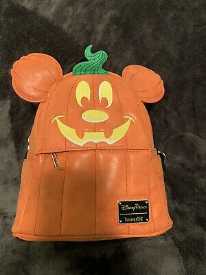 Disney Parks 2019 Mickey Halloween Pumpkin Loungefly Mini Backpack~NWT