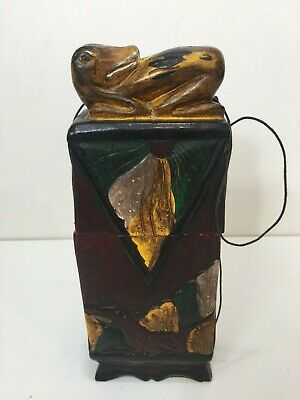 """Antique Chinese Portable Hand Carved & Painted Small Wooden Box, 9 1/4"""" Tall"""