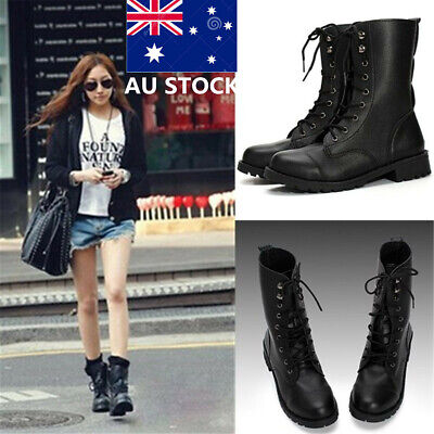 AU Women Mid Calf PU Leather Marti n Gothic Boots Lace Up School Military