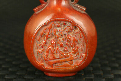 chinese old deer horn hand carved play the piano snuff bottle