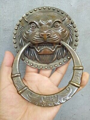 Door knocker,Authentic Fengshui Brass Lion Foo Fu Dog Head Mask Statue