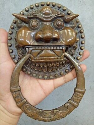 Old Authentic Fengshui Brass Expel the evil magical beast Statue Door knocker