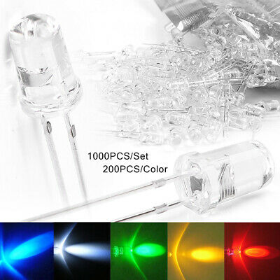 100/500/1000PCS LED Light Lamp Bulb Emitting Diode White Green Red Blue Yellow