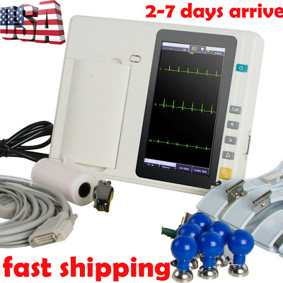 Touch Screen Digital 3-Channel 12 Lead Electrocardiograph ECG/EKG Hospital USPS