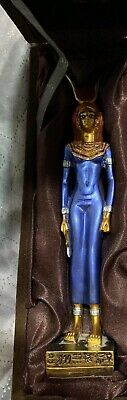 "Lovely Blue Ancient Egyptian Hathor Goddess Statue 8.8"" Comes With Original Box"