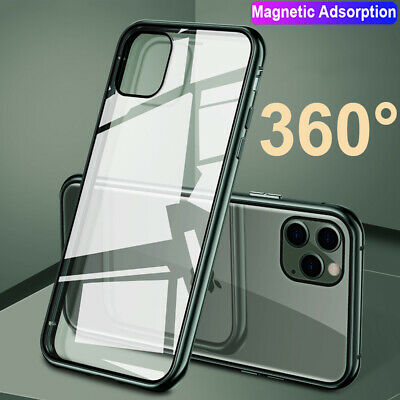 For iPhone 11 Pro Max XR XS Magnetic Case 360° Full Tempered Glass Hybrid Cover