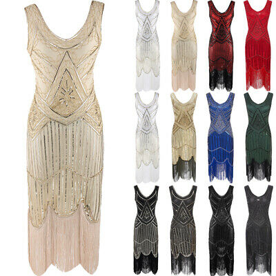 Plus Size Great Gatsby Costume 1920's Cocktail Party Sequin Fringe Flapper Dress