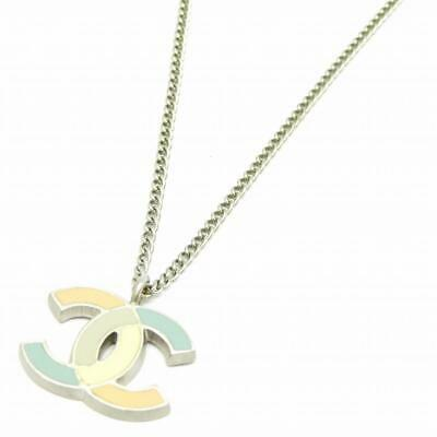 Auth Chanel CC Necklace Metal Silver 6032