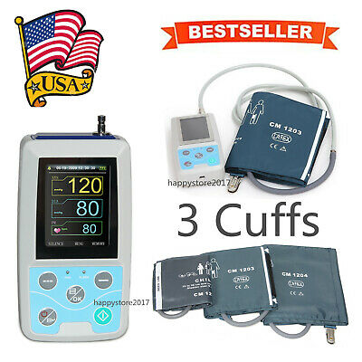 CE&FDA mbulatory Blood Pressure Monitor NIBP Holter ABPM50 24 Hour Record 3cuffs