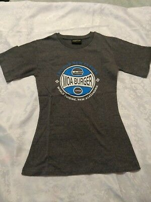 New Grey fitted T Shirt size Small with Burger Logo from Insert Coin